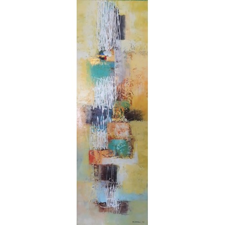 Peinture abstraite vertical blanc jaune et bleu 120x40 cm