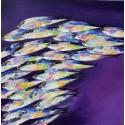Tableau décoratif violet poissons 100x100 cm