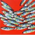 Tableau décoratif orange poissons 90x90 cm