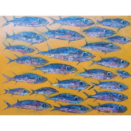 Grand tableau poissons longs et fins, fond jaune 130x100 cm