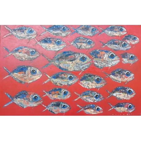 Tableau banc de poissons piranhas fond rouge 150x100 cm