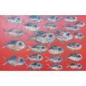 Tableau banc de poissons fond rouge 150x100 cm