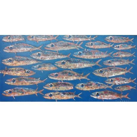 Peinture banc de poissons grand format fond bleu océan 180x90 cm