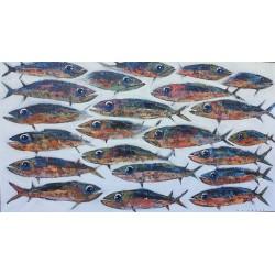 Tableau poissons de mer 160x90 cm