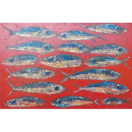 Tableau poissons regroupés fond rouge 120x80 cm