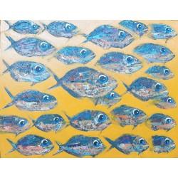 Toile poisson peinture huile à dominante jaune 100x80 cm
