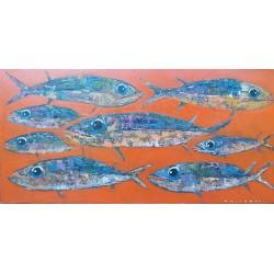 Toile orange avec poissons 120x60 cm