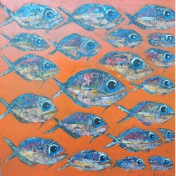 Toile sur cadre orange et poissons 100x100 cm