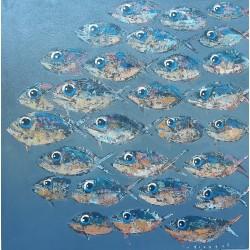 Toile sur cadre piranhas à dominante grise 90x90 cm