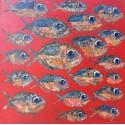 Tableau banc de piranhas à dominante rouge 80x80 cm
