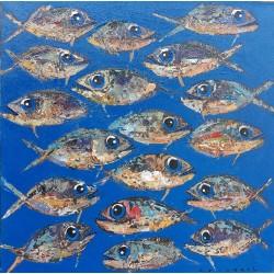 Petit tableau poissons fond bleu 60x60 cm