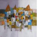 Tableau masques colorés-fond blanc-violet- 100x100 cm