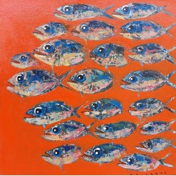 Tableau cuisine décoratif poissons fond orange 60x60 cm