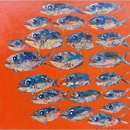 Tableau poissons décoratif fond orange 60x60 cm