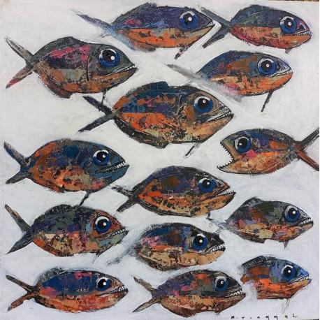 Tableau petits poissons format 70x70 cm