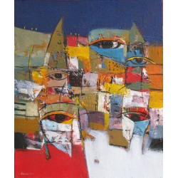Tableau masques colorés- 60x50 cm