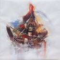 Cadre peinture abstraite bateau 100x100 cm