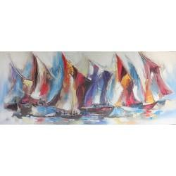 Peinture voiliers voiles auriques 140x60 cm