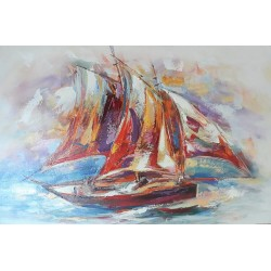 Peinture artistique voilier vieux gréement 120x80 cm