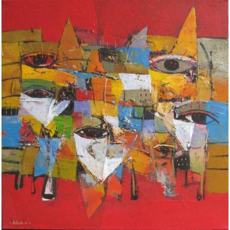 Tableau masques colorés-fond rouge- 60x60 cm