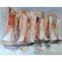 Tableau vieux bateaux style Sinagots 100x80 cm