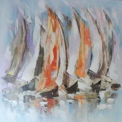 Tableau peinture voiliers pastel 100x100 cm