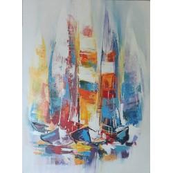 Cadre peinture bateaux voiliers 60x80 cm