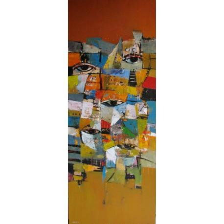 Tableau vertical masques colorés-fond brun- 150x60 cm