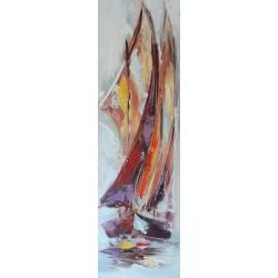 Peinture bateau voile aurique 100x30 cm