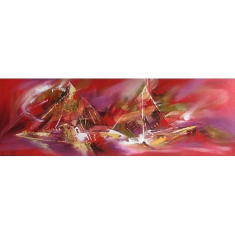 Cadre deco horizontal bateaux abstraits fond rouge 150x50 cm