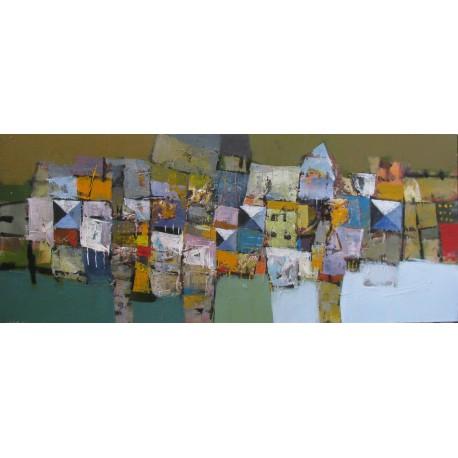 Tableau horizonal abstrait- motif petits carrés- 120x50 cm