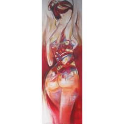 Toile peinte femme 150x50 cm