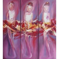 Triptyque peint tableau danseuses ballerines fond violet 100x90 cm
