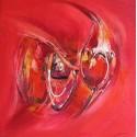 Petit cadre peint poissons abstraits 60x60 cm