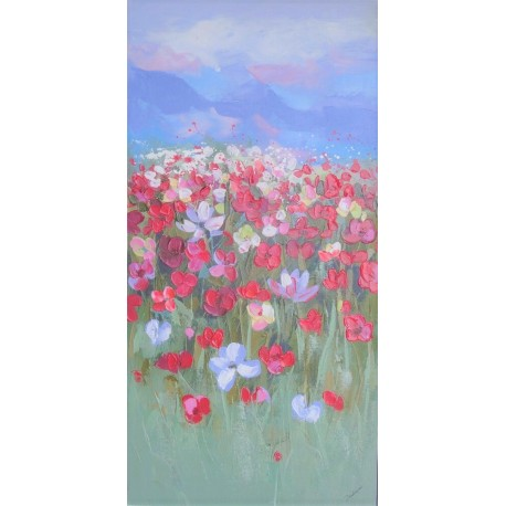 Fleurs et montagnes-Tableau déco vertical -120x60 cm- Budi