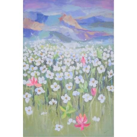Fleurs et montagnes-Tableau déco murale vertical -120x80 cm- Budi