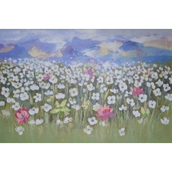 Montagnes et champ fleuri- Tableau contemporain 150x100 cm