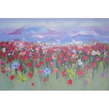 Peinture florale et montagnes 150x100 cm