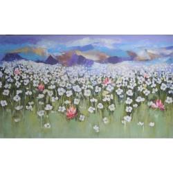 Montagnes alpestres et champ fleuri- Peinture très grand format XL horizontal 200x120 cm