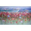 Montagnes alpestres et champ fleuri- Tableau très grand format horizontal 200x120 cm