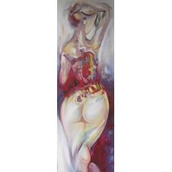 Tableau peint femme 150x50 cm