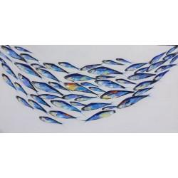 Banc de poissons thons tableau panoramique moderne 200x100 cm