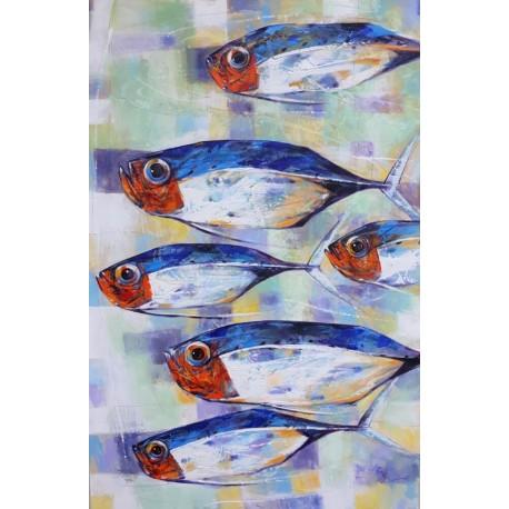 Peinture décorative gros poissons format 150x100 cm