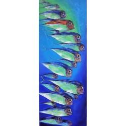 Tableau vertical poissons sur fond bleu 200x75 cm