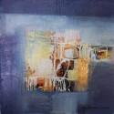 Mini tableau carré abstrait bleu foncé 25x25 cm