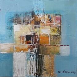 Mini tableau multi couleurs bleu clair 25x25 cm