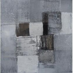 Petit tableau abstrait gris 50x50 cm