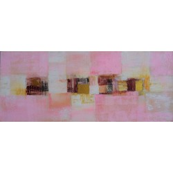 Tableau chambre à dominante rose 120x50 cm