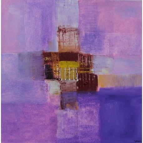 Petit tableau abstrait rose violet 40x40 cm