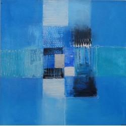 Petite toile bleue tendance 40x40 cm